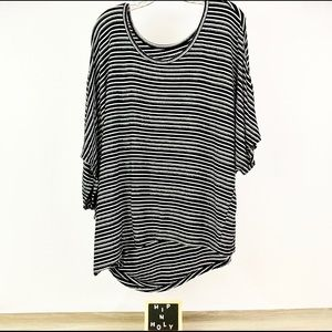 LANE BRYANT Striped Sparkle Top Black White 22/24